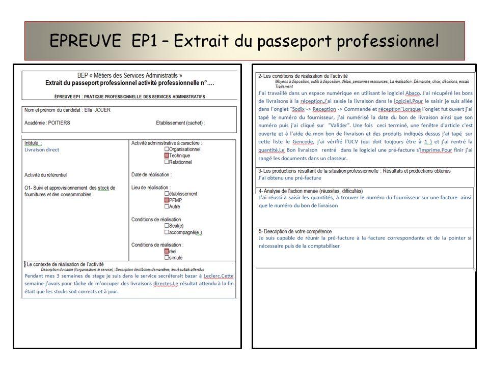 EPREUVE EP1 – Extrait du passeport professionnel