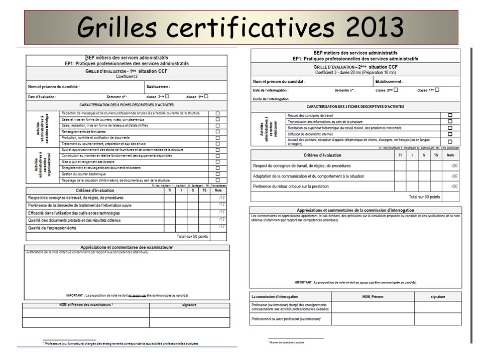 Grilles certificatives 2013