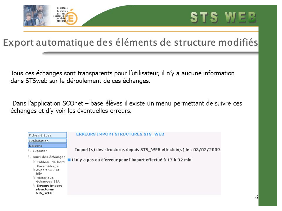 Export automatique des éléments de structure modifiés