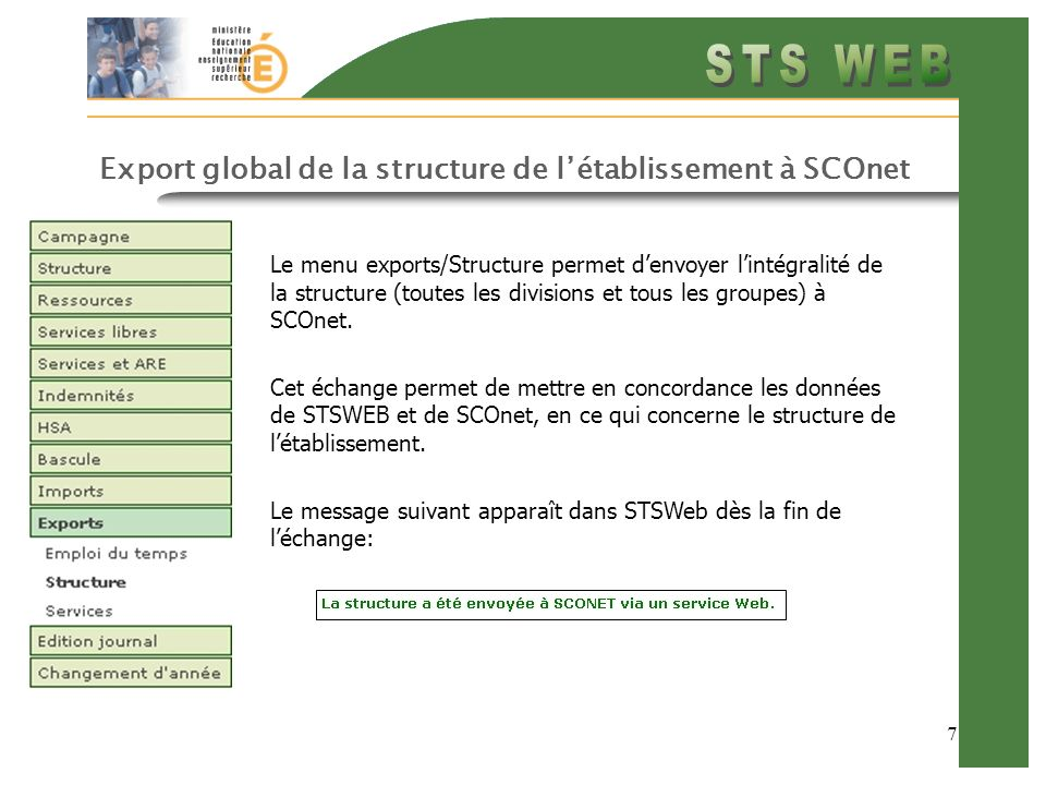 Export global de la structure de l'établissement à SCOnet