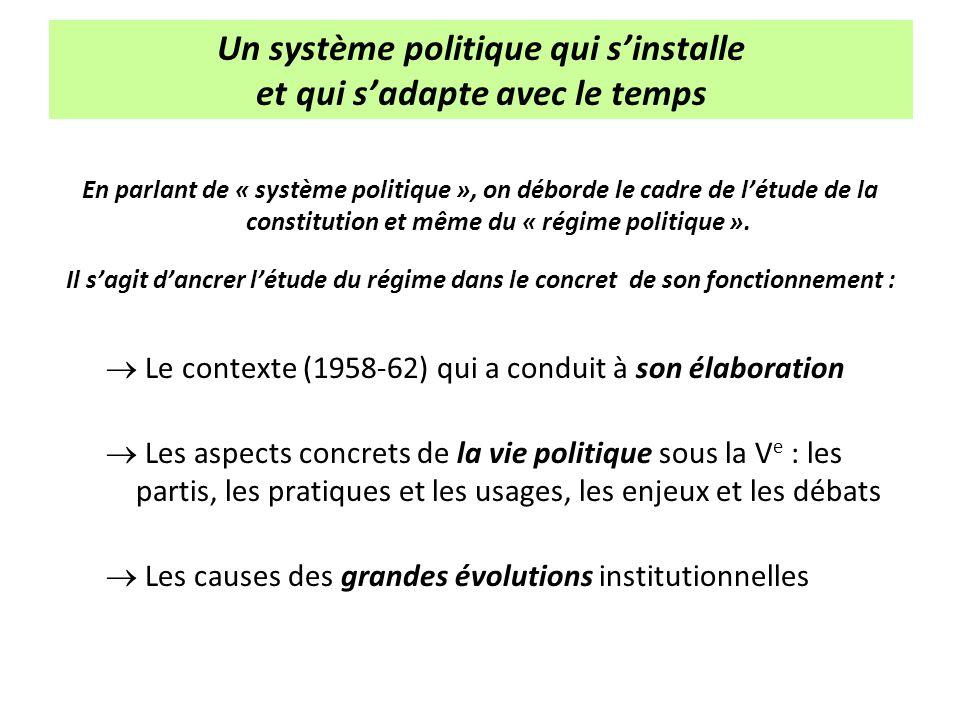 Un système politique qui s'installe et qui s'adapte avec le temps