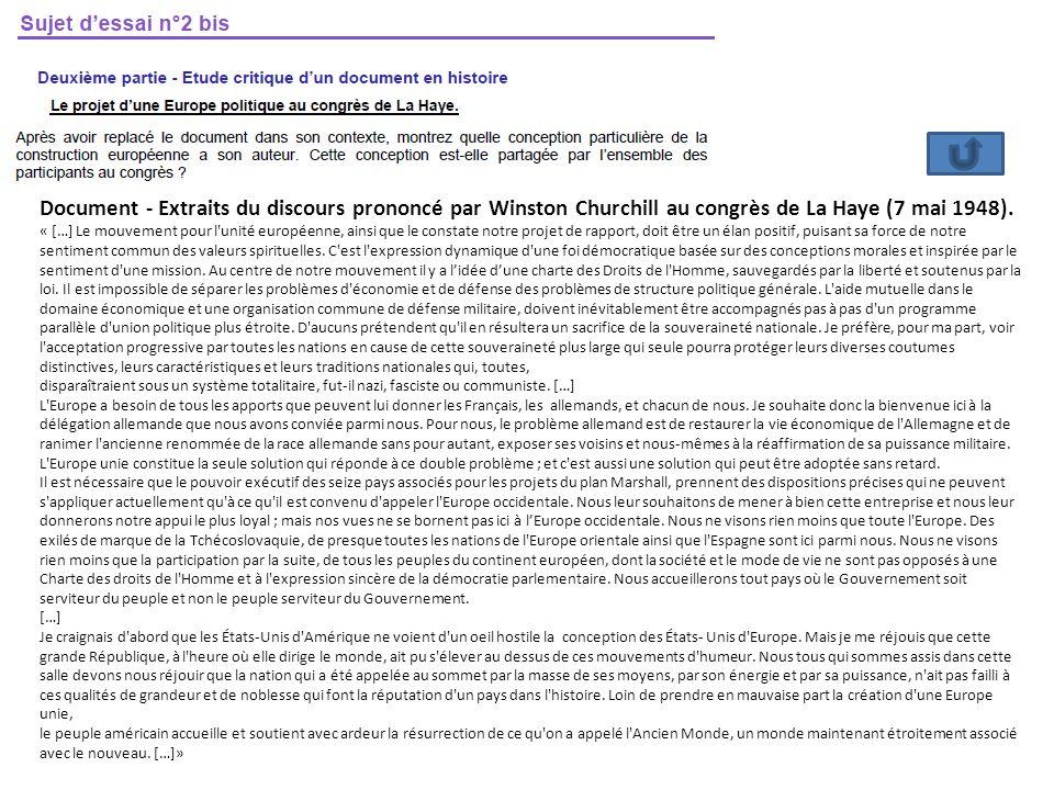 Document - Extraits du discours prononcé par Winston Churchill au congrès de La Haye (7 mai 1948).
