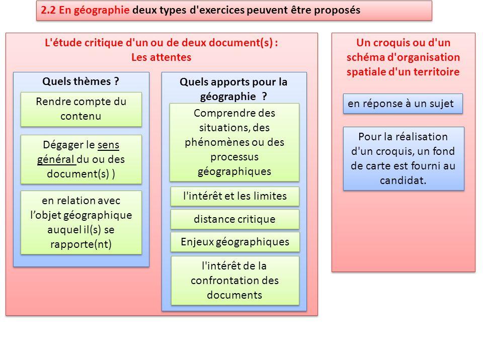 2.2 En géographie deux types d exercices peuvent être proposés