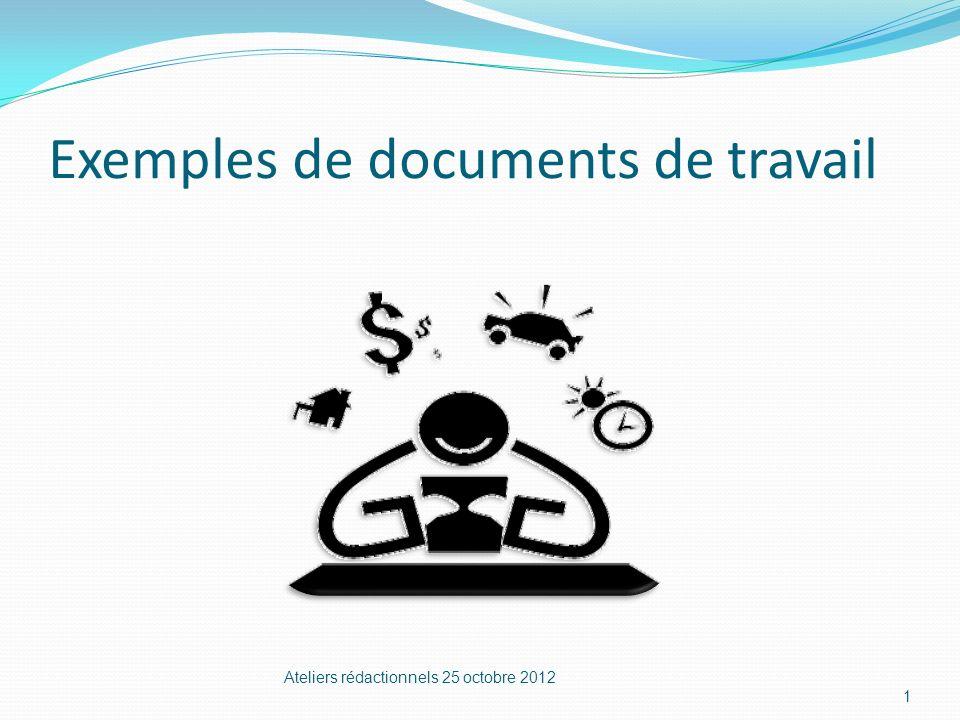 Exemples de documents de travail