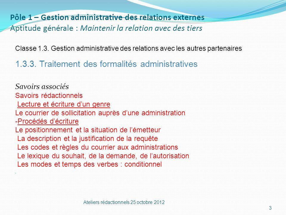 1.3.3. Traitement des formalités administratives