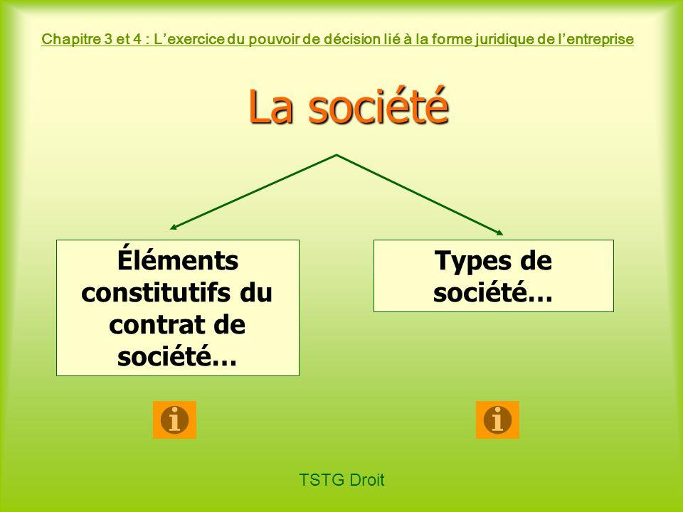 Éléments constitutifs du contrat de société…