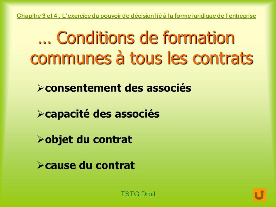 … Conditions de formation communes à tous les contrats
