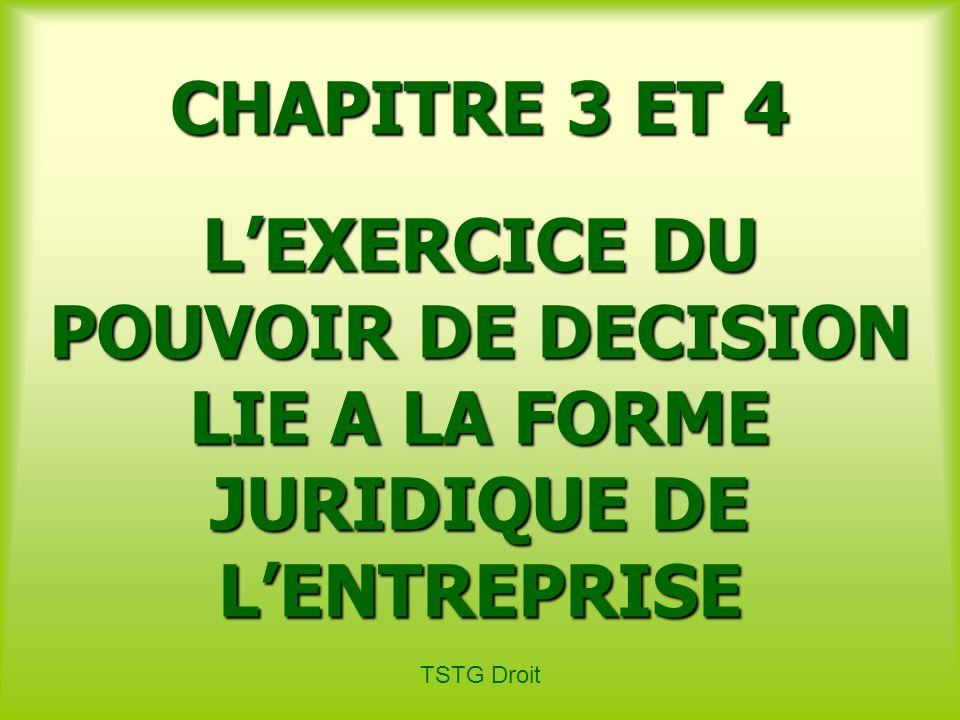 CHAPITRE 3 ET 4 L'EXERCICE DU POUVOIR DE DECISION LIE A LA FORME JURIDIQUE DE L'ENTREPRISE.