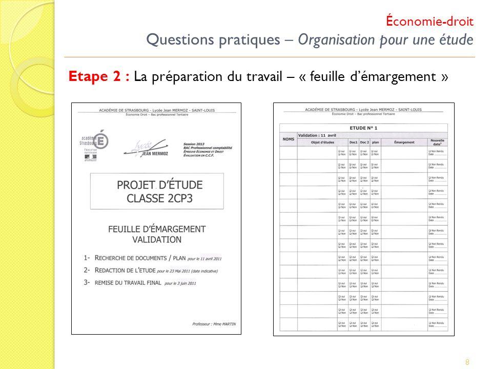 Économie-droit Questions pratiques – Organisation pour une étude