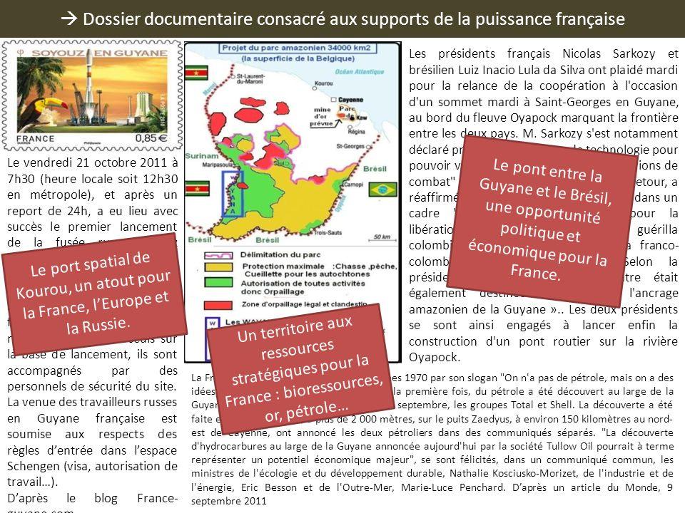  Dossier documentaire consacré aux supports de la puissance française