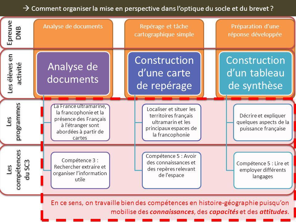  Comment organiser la mise en perspective dans l'optique du socle et du brevet