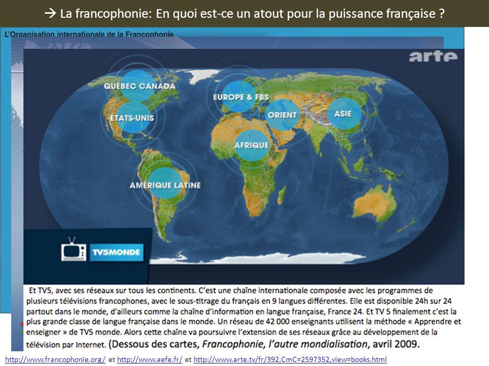  La francophonie: En quoi est-ce un atout pour la puissance française