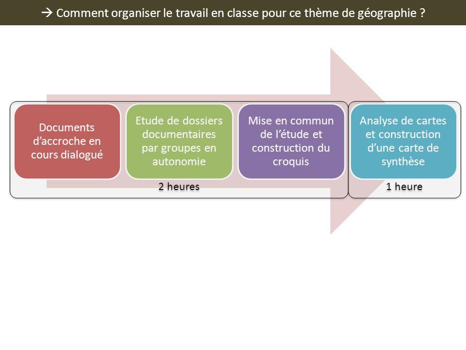  Comment organiser le travail en classe pour ce thème de géographie