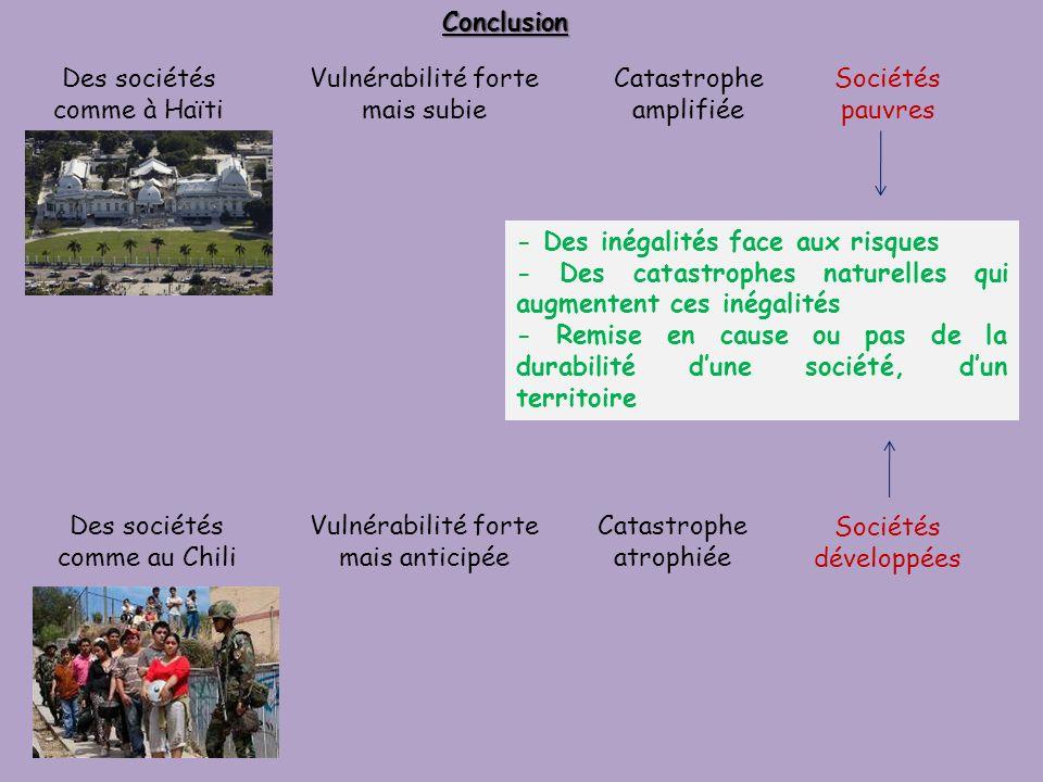 Des sociétés comme à Haïti Vulnérabilité forte mais subie