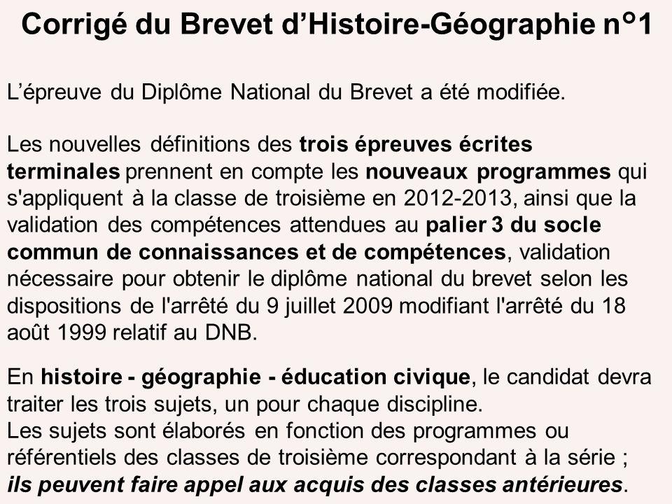 Corrigé du Brevet d'Histoire-Géographie n°1
