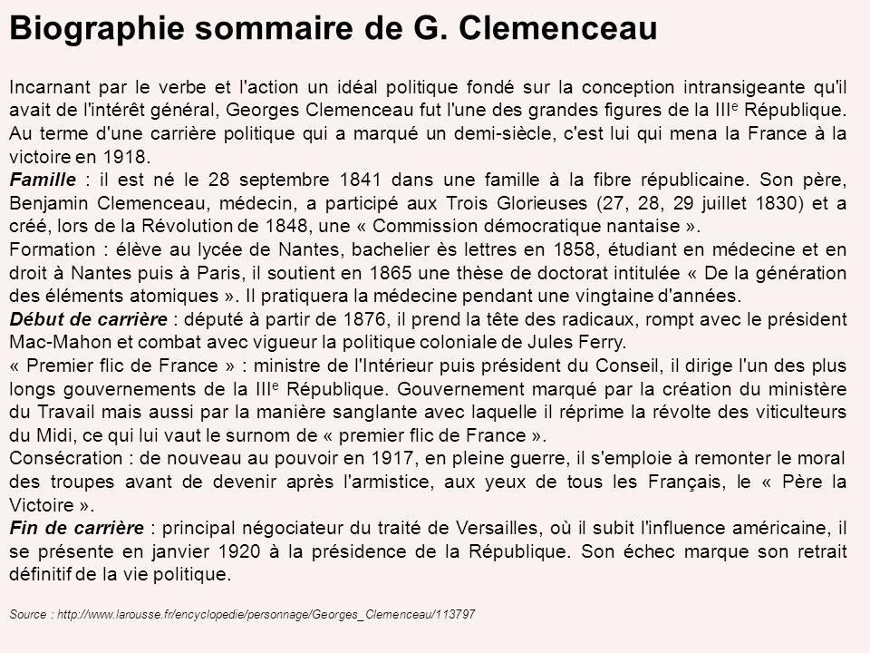 Biographie sommaire de G. Clemenceau