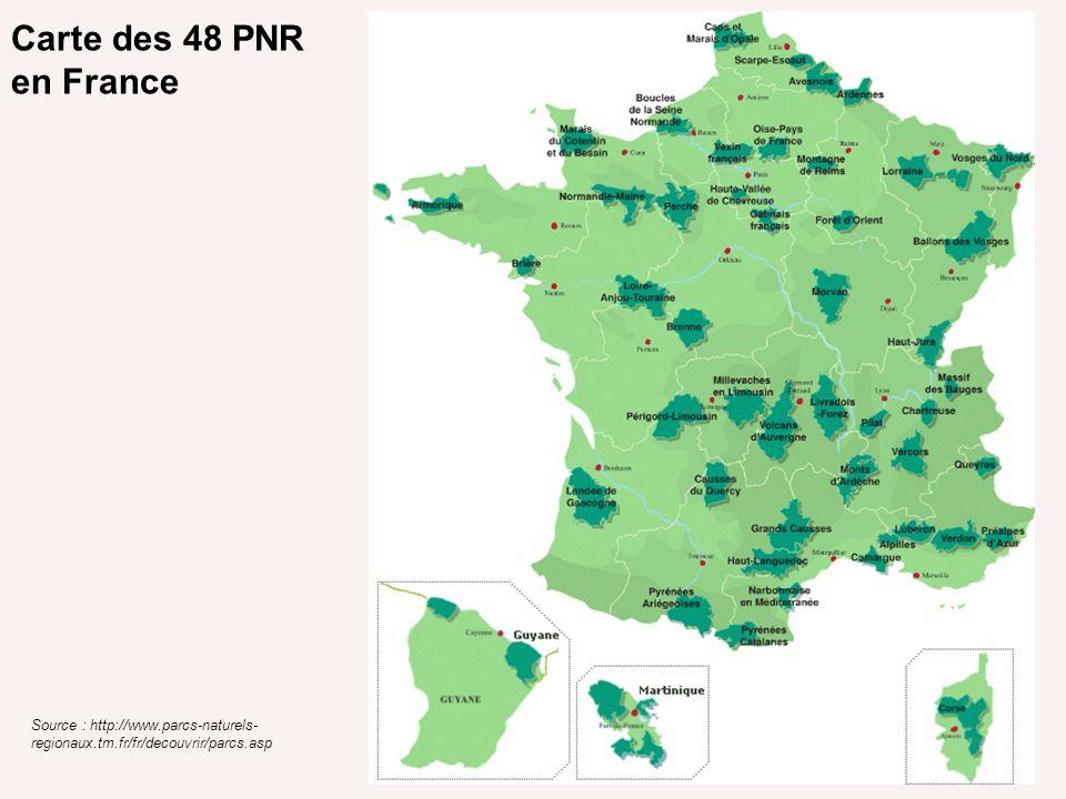 Carte des 48 PNR en France Source : http://www.parcs-naturels-regionaux.tm.fr/fr/decouvrir/parcs.asp.