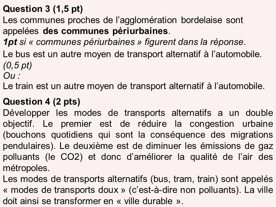 Question 3 (1,5 pt) Les communes proches de l'agglomération bordelaise sont appelées des communes périurbaines.