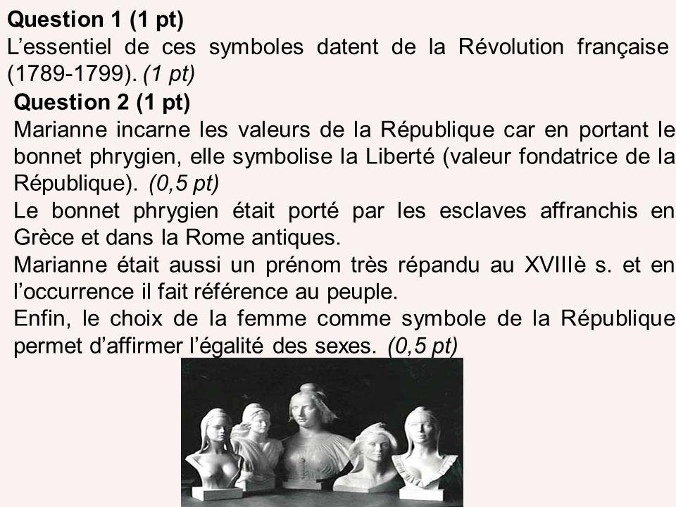 Question 1 (1 pt) L'essentiel de ces symboles datent de la Révolution française (1789-1799). (1 pt)