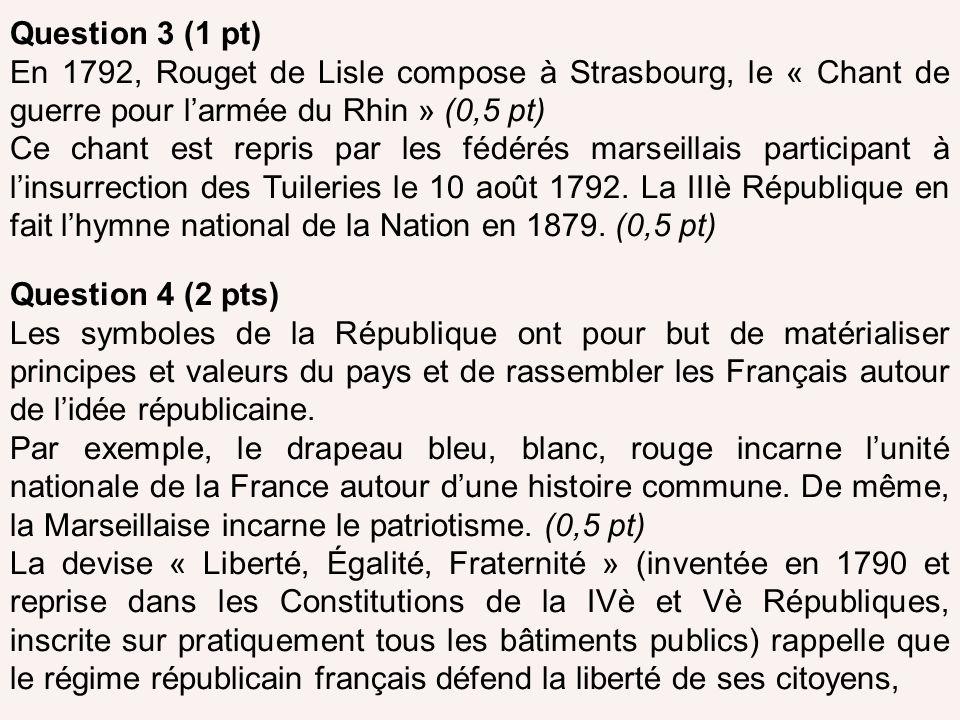 Question 3 (1 pt) En 1792, Rouget de Lisle compose à Strasbourg, le « Chant de guerre pour l'armée du Rhin » (0,5 pt)