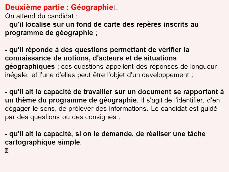Deuxième partie : Géographie
