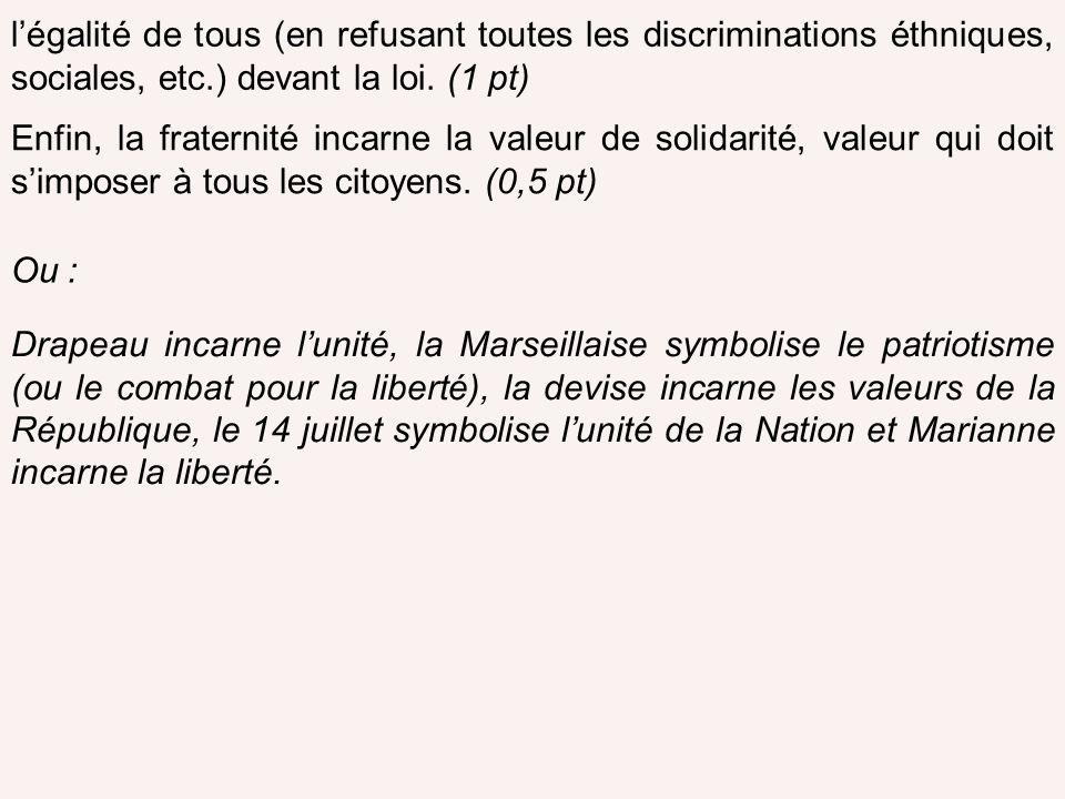 l'égalité de tous (en refusant toutes les discriminations éthniques, sociales, etc.) devant la loi. (1 pt)