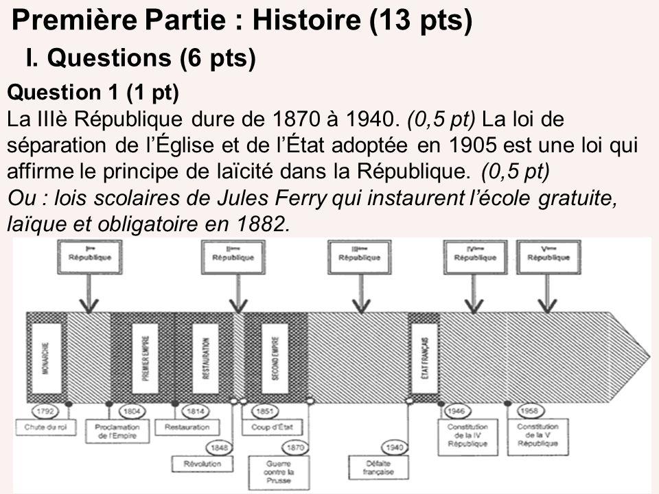 Première Partie : Histoire (13 pts)