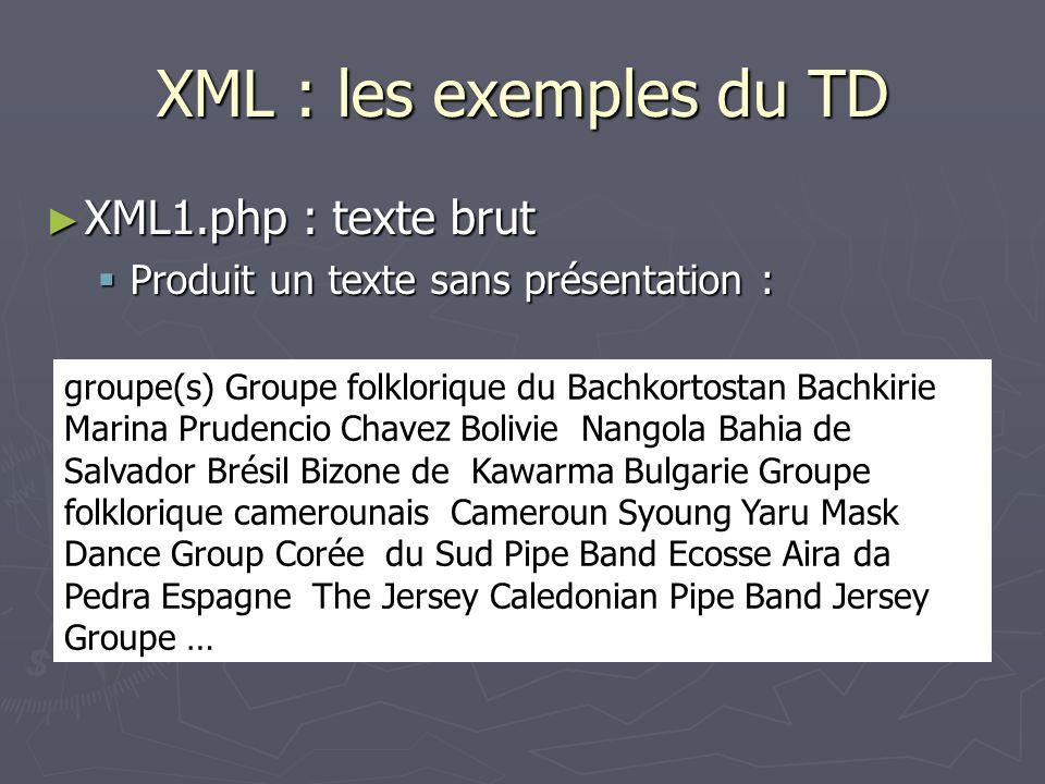 XML : les exemples du TD XML1.php : texte brut