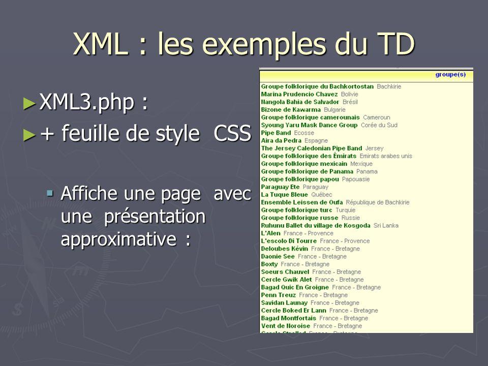 XML : les exemples du TD XML3.php : + feuille de style CSS