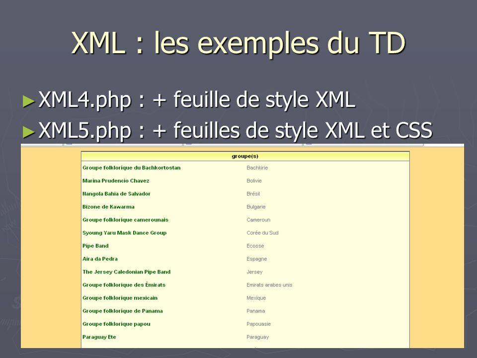 XML : les exemples du TD XML4.php : + feuille de style XML