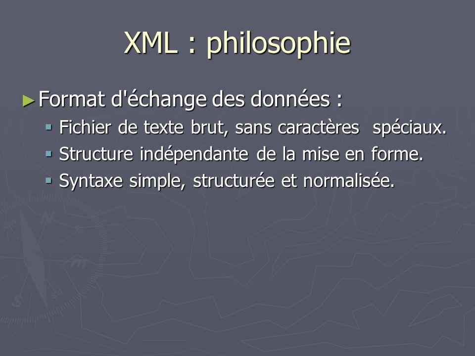 XML : philosophie Format d échange des données :