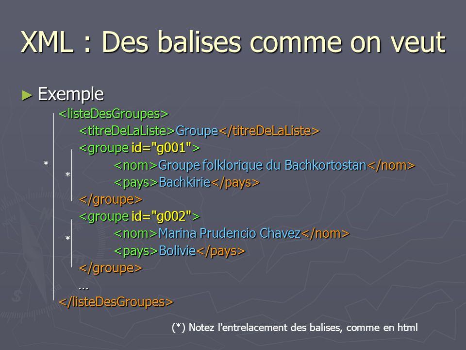 XML : Des balises comme on veut