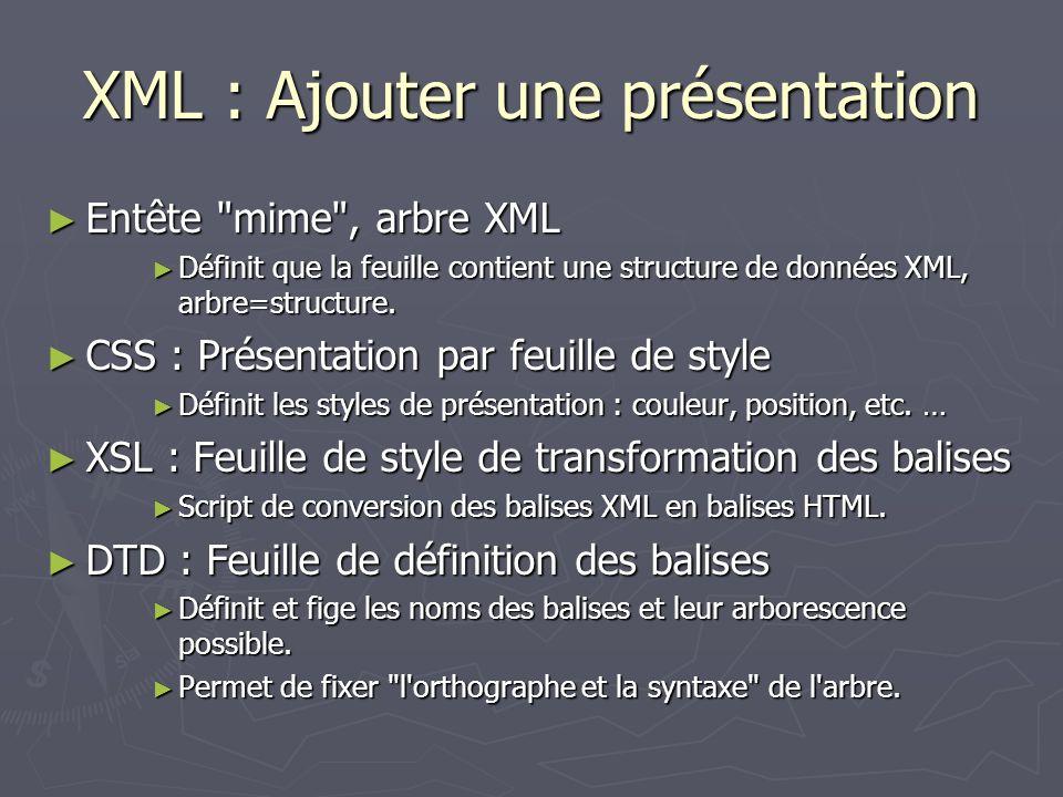 XML : Ajouter une présentation