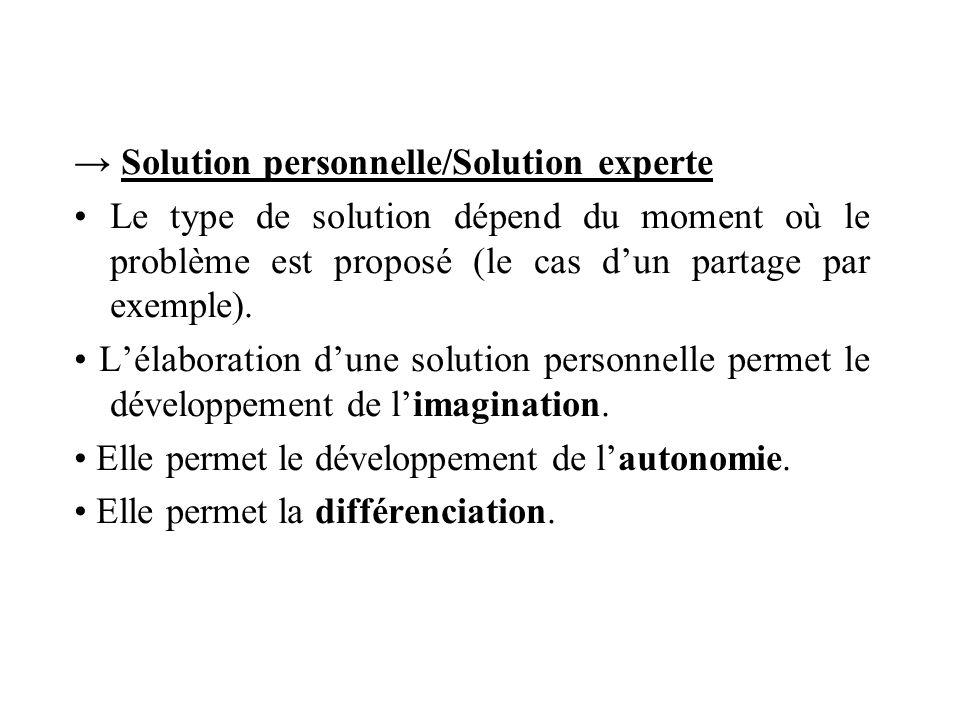 → Solution personnelle/Solution experte