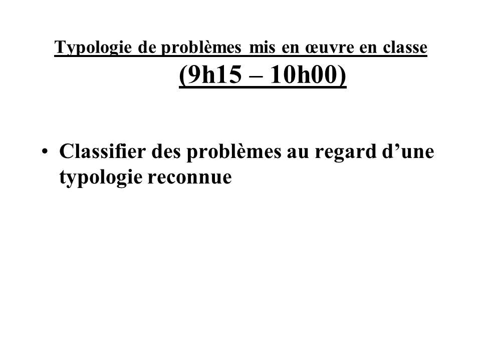 Typologie de problèmes mis en œuvre en classe (9h15 – 10h00)