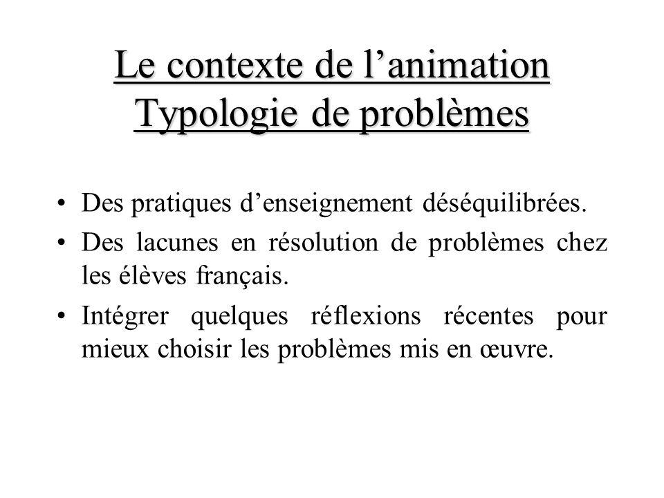 Le contexte de l'animation Typologie de problèmes