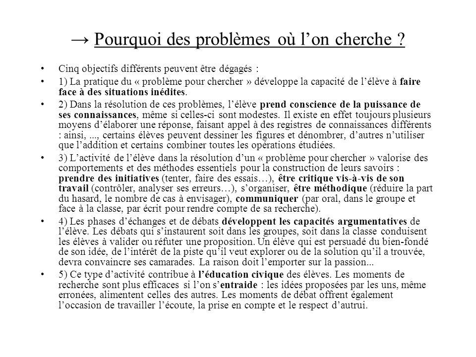 → Pourquoi des problèmes où l'on cherche
