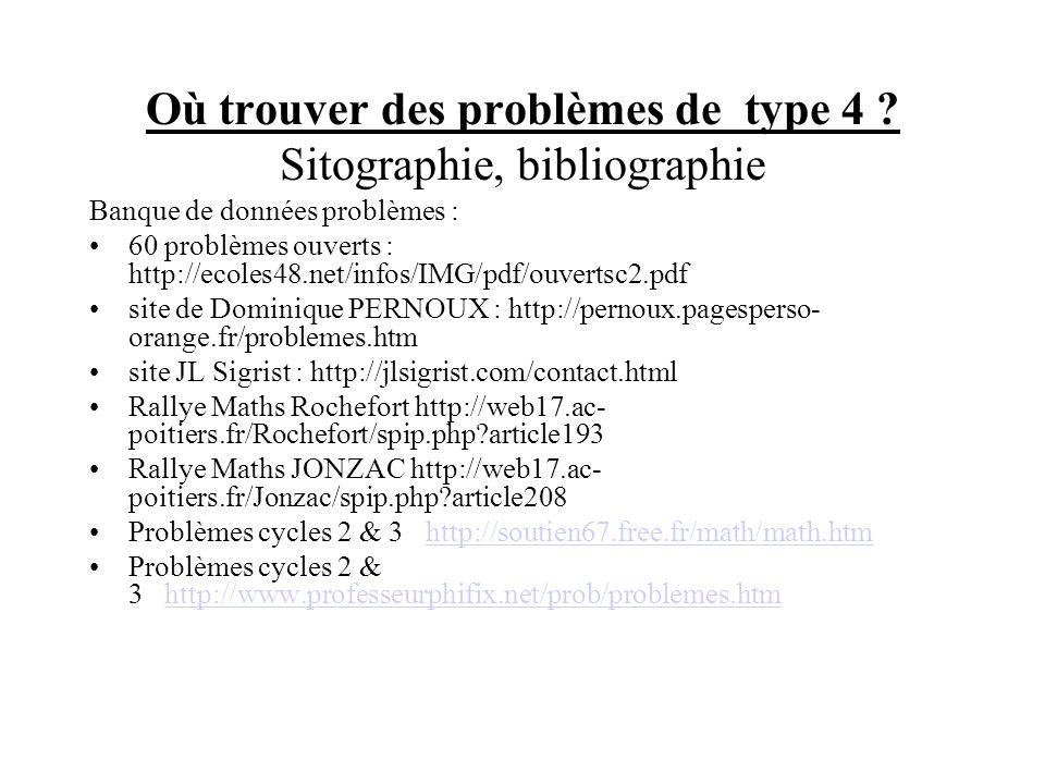 Où trouver des problèmes de type 4 Sitographie, bibliographie
