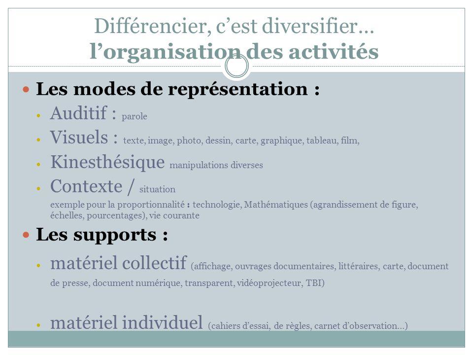 Différencier, c'est diversifier… l'organisation des activités