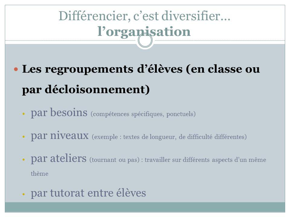 Différencier, c'est diversifier… l'organisation