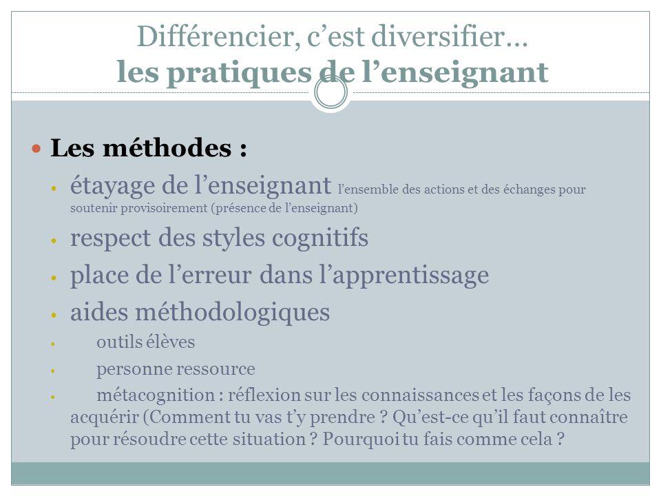 Différencier, c'est diversifier… les pratiques de l'enseignant