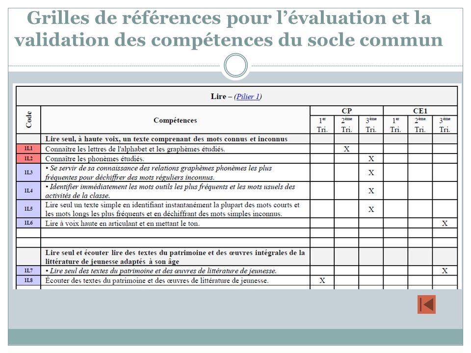 Grilles de références pour l'évaluation et la validation des compétences du socle commun