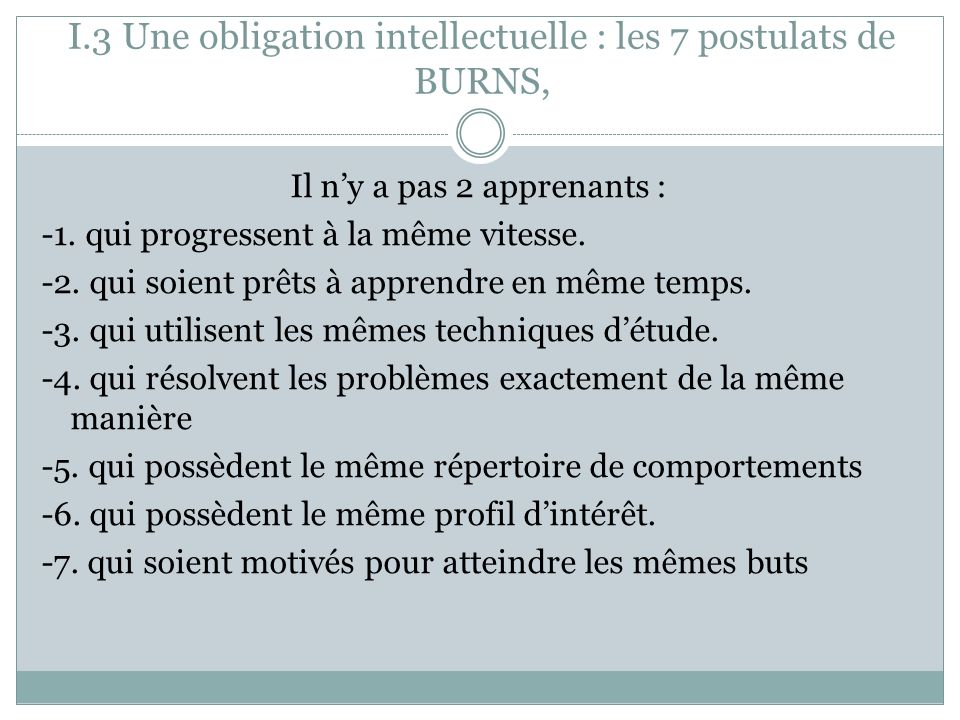 I.3 Une obligation intellectuelle : les 7 postulats de BURNS,