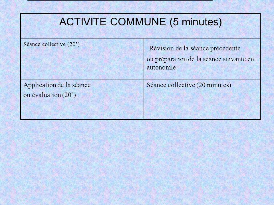 ACTIVITE COMMUNE (5 minutes)