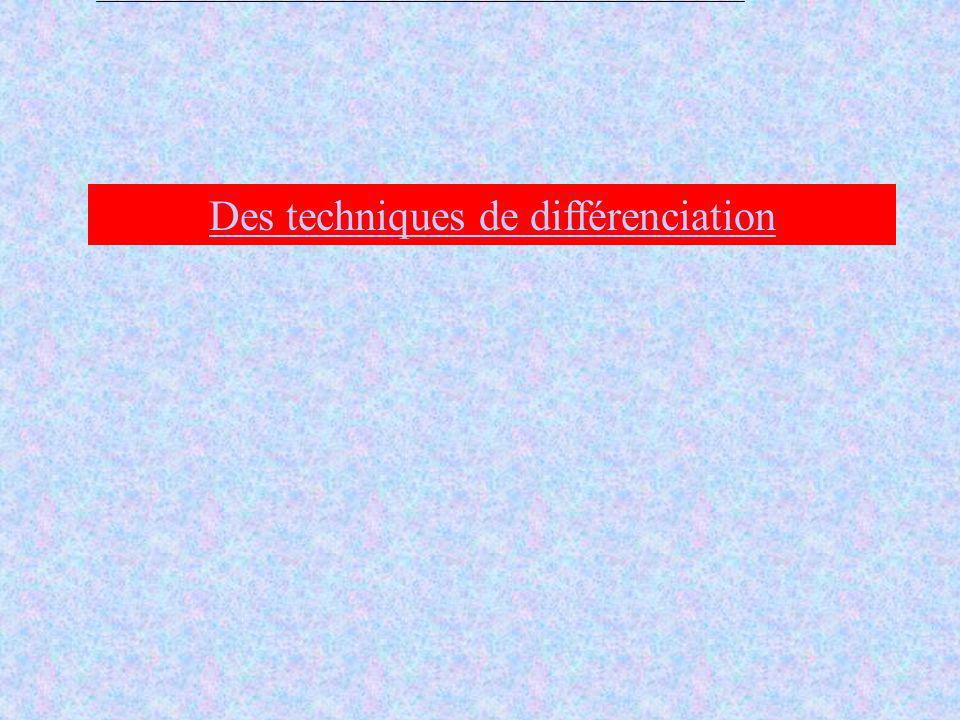 Des techniques de différenciation