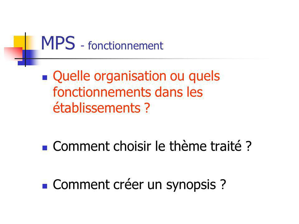 MPS - fonctionnement Quelle organisation ou quels fonctionnements dans les établissements Comment choisir le thème traité