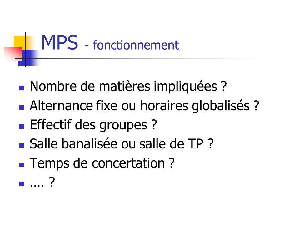MPS - fonctionnement Nombre de matières impliquées