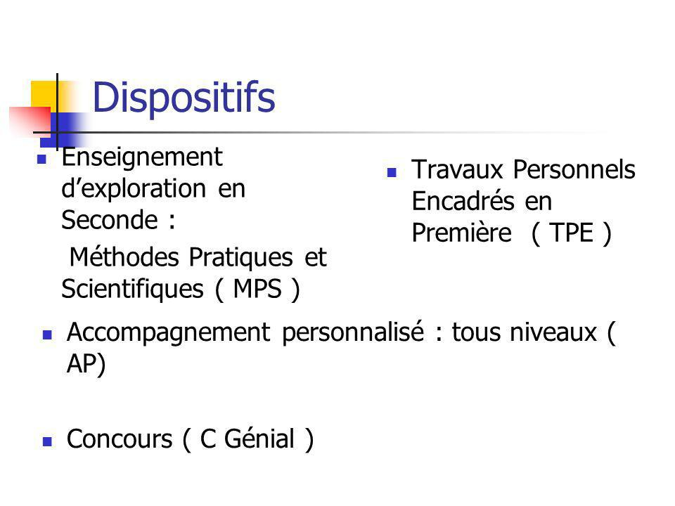 Dispositifs Enseignement d'exploration en Seconde :