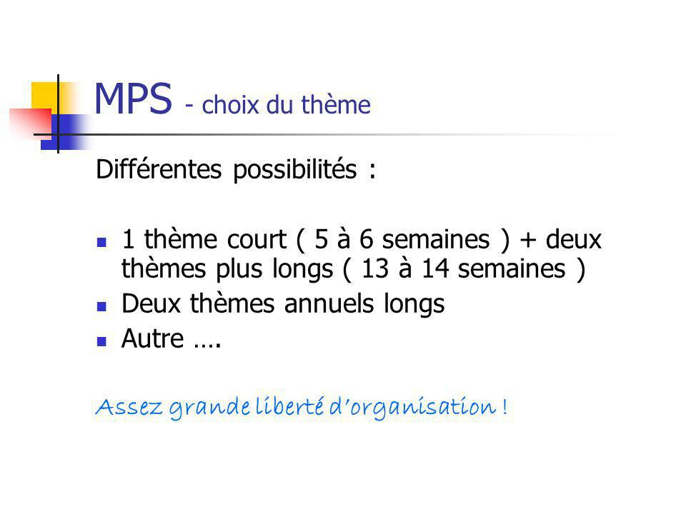 MPS - choix du thème Différentes possibilités :