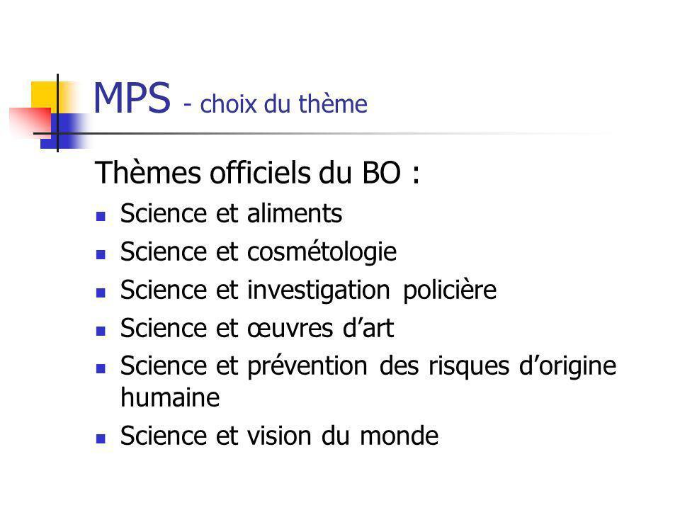 MPS - choix du thème Thèmes officiels du BO : Science et aliments